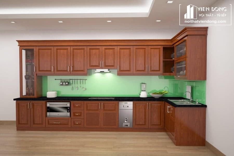 Tủ bếp gỗ xoan đào TBX003