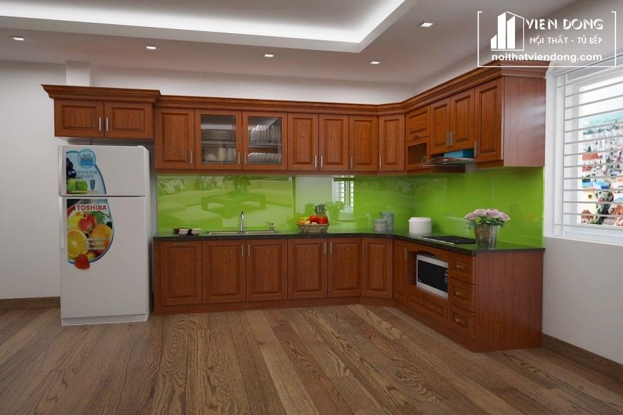 Tủ bếp gỗ xoan đào đẹp