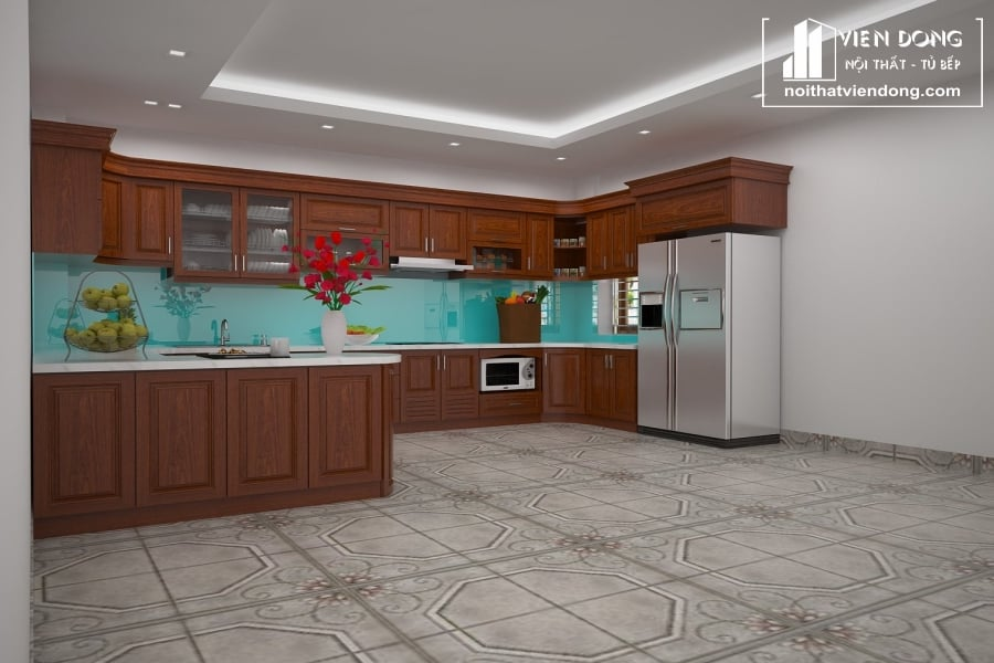Tủ bếp gỗ xoan đào chữ U