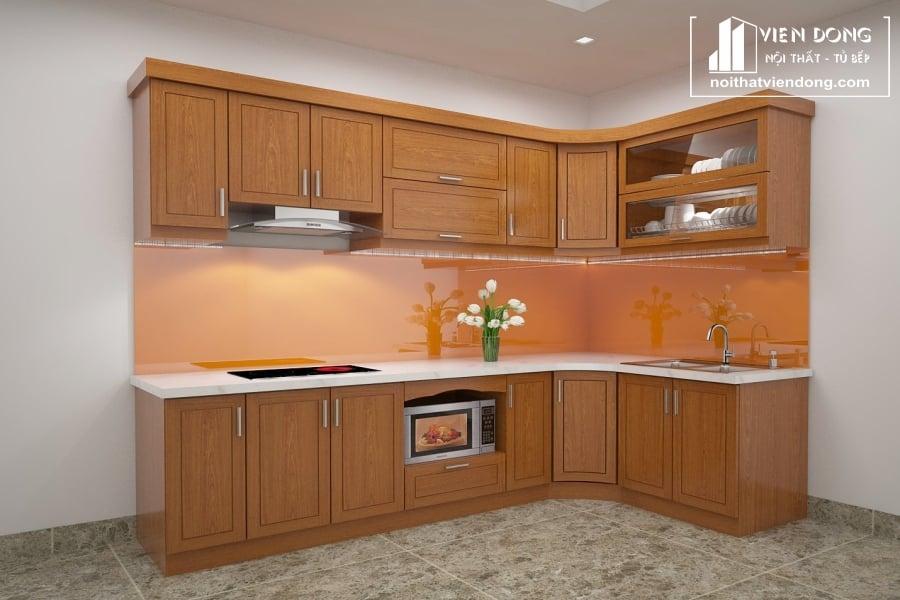 Tủ bếp gỗ xoan đào TBX001