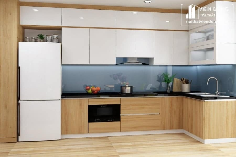 Tủ bếp laminate chữ L
