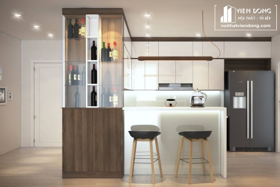 Tủ bếp laminate chữ U