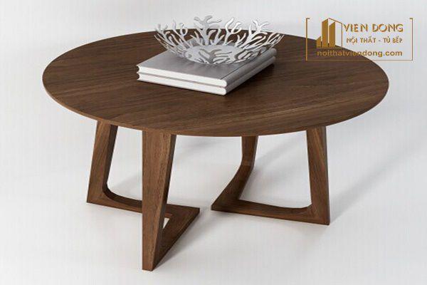 Bàn sofa tròn mặt gỗ