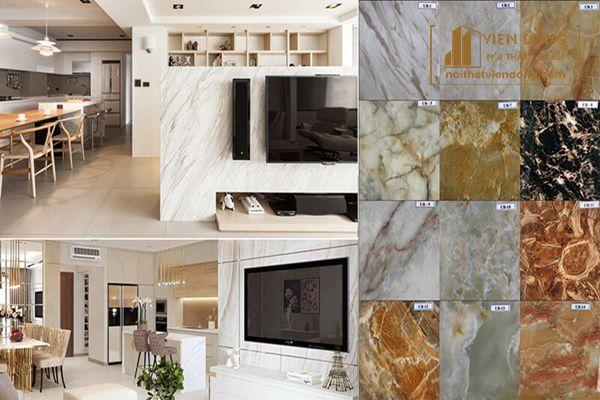 Phòng khách và phòng bếp được trang trí bằng đá cẩm thạch (marble)