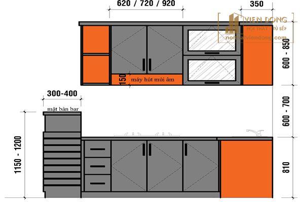 kích thước tủ bếp tiêu chuẩn tại Nội Thất VIễn Đông