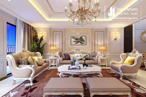 Ảnh 3: Hệ thống đèn chùm tạo sự thanh lịch cho phòng khách