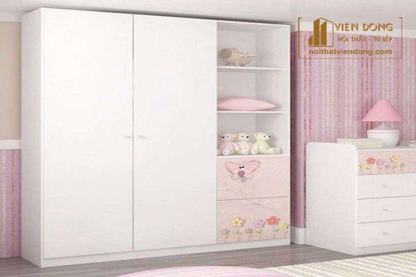 tủ áo màu hồng được làm cho bé gái