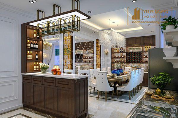 Tủ rượu kết hợp với bar bếp
