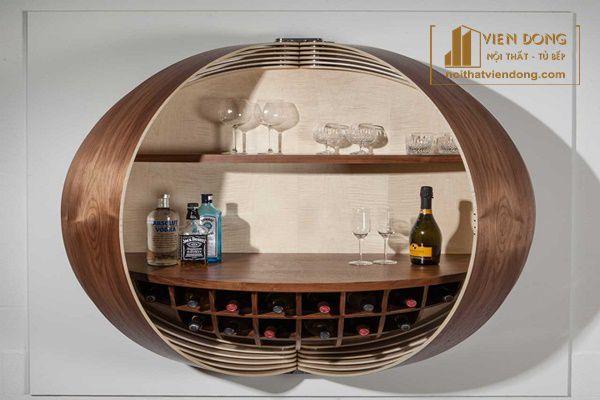 Tủ rượu mini nửa hình tròn