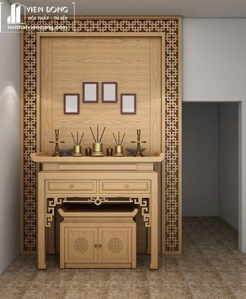 Mẫu bàn thờ đẹp gỗ sồi 4
