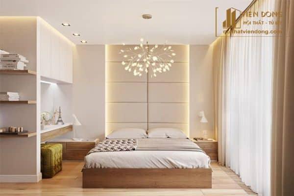 trang trí phòng ngủ với đèn và rèm