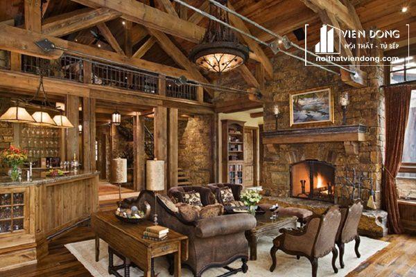 vật liệu đá và gỗ thô thường được dùng trong thiết kế nội thất rustic