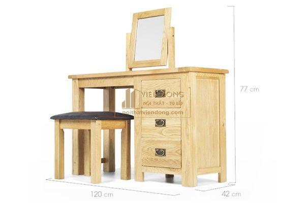 bàn phấn gỗ tự nhiên kiểu hiện đại gỗ sồi