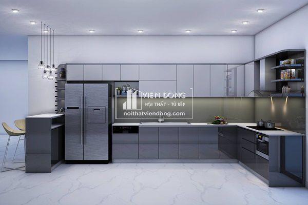 mẫu tủ bếp acrylic màu ghi xám